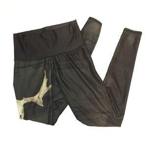 teeki Pants - Teeki bull skull black green leggings size XS